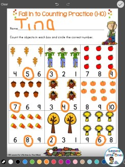 differentiated counting practice using Pic Collage