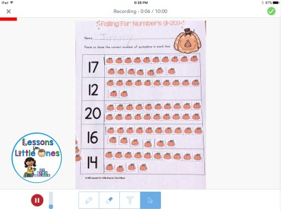 counting and number practice using the Seesaw app