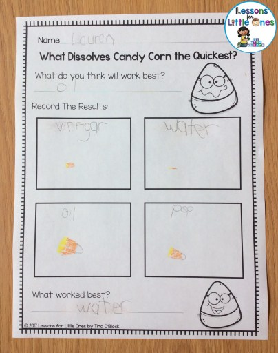candy corn science experiment recording sheet
