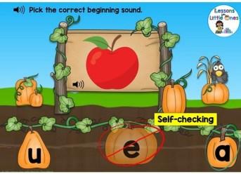 letter sounds (beginning sounds) practice Boom Cards pumpkin