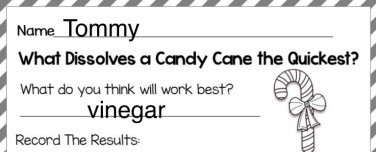 candy cane Christmas science page