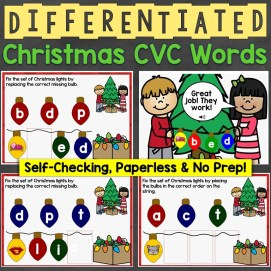Christmas CVC Words Differentiated
