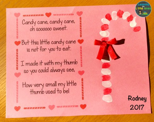 candy cane poem and thumbprint Christmas card for parents