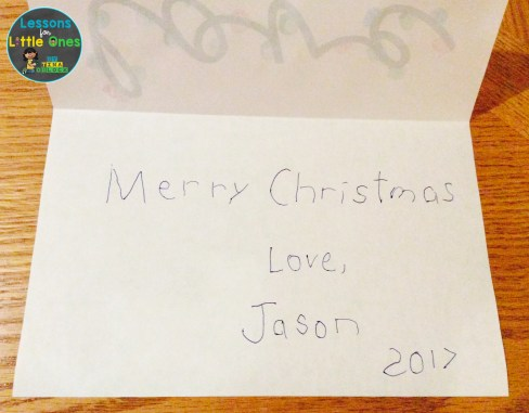 Christmas card for parents from students