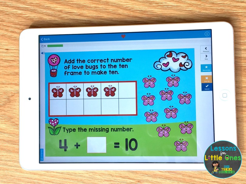 digital math center Valentine Making 10 - iPad