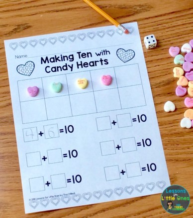 Valentine's Day math center making ten