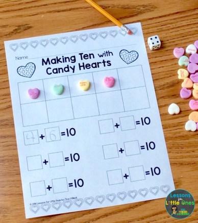Valentine's Day math center making ten