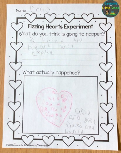 valentine fizzing hearts experiment page