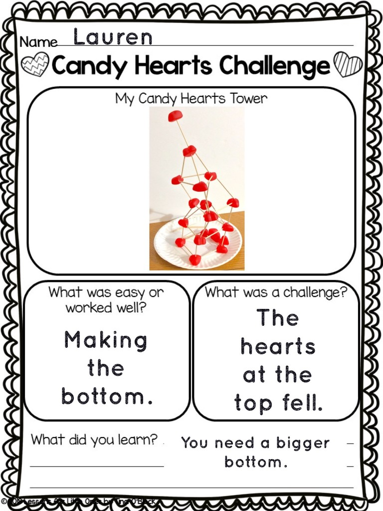 candy heart STEM challenge Pic Collage