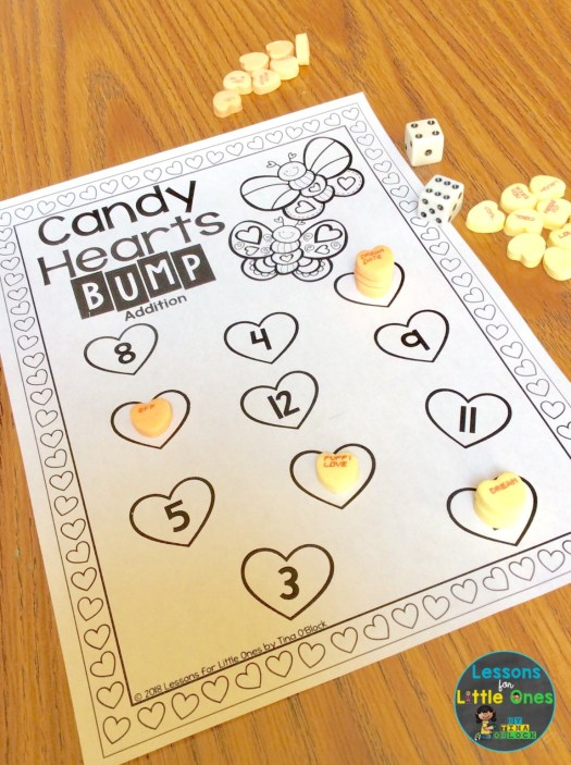 valentine math center addition bump game