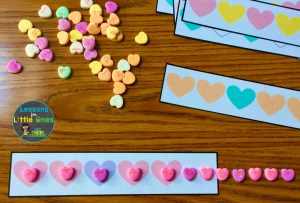 valentine math center patterns with candy hearts