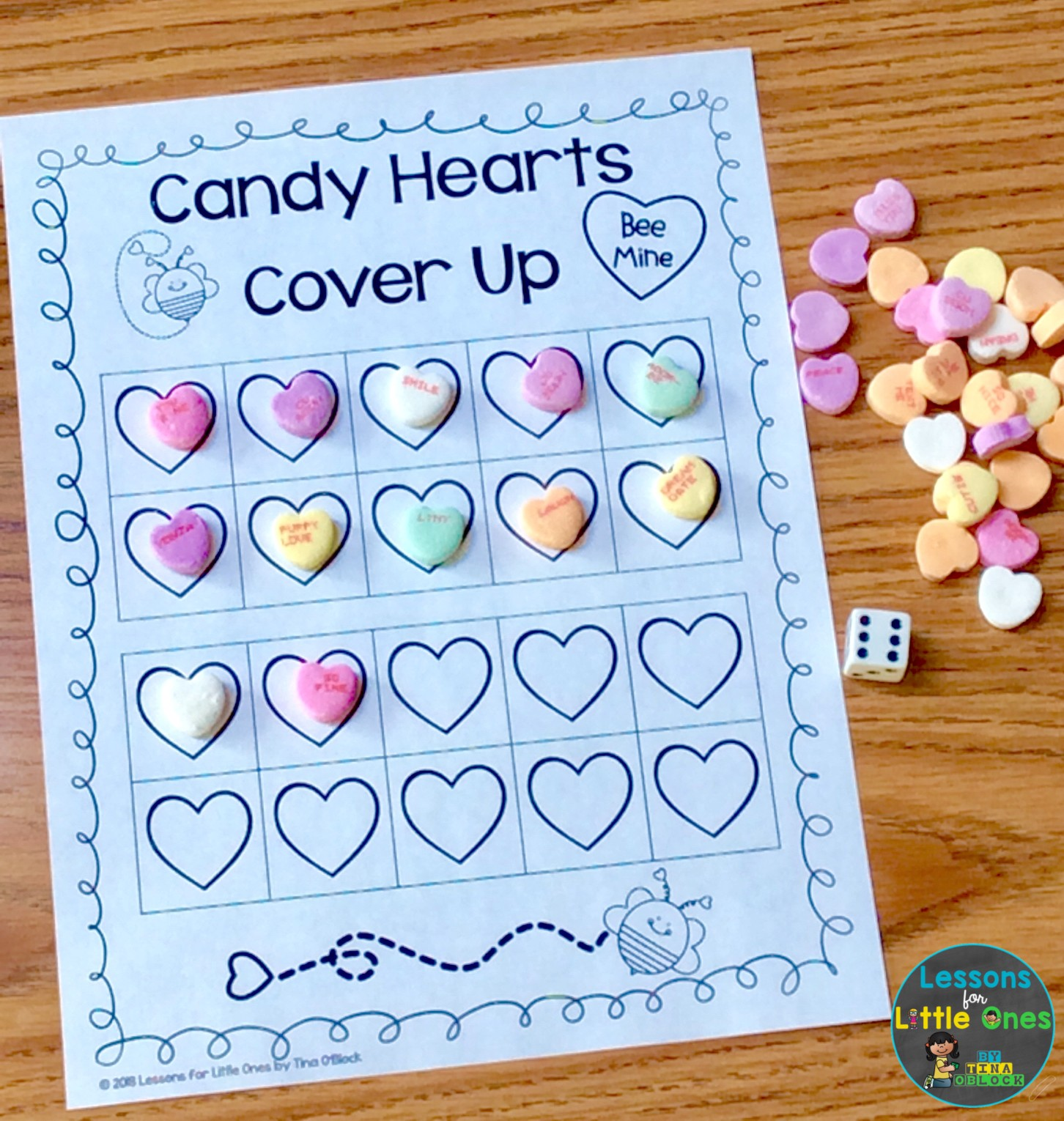 Valentine Math Centers \u0026 Free Printables - Lessons for Little Ones by Tina  O'Block [ 1530 x 1452 Pixel ]