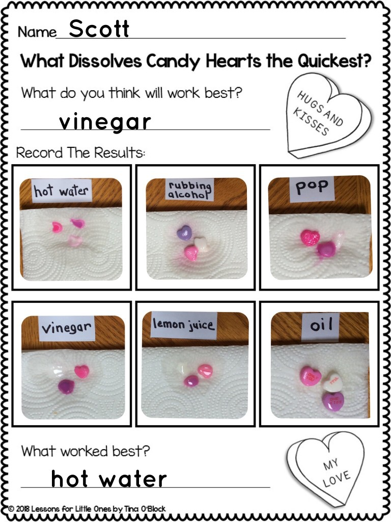valentine candy hearts science page Pic Collage