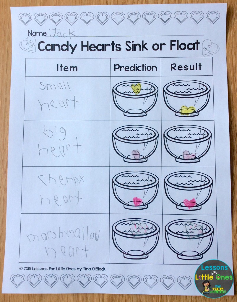 valentine science experiment sink or float page