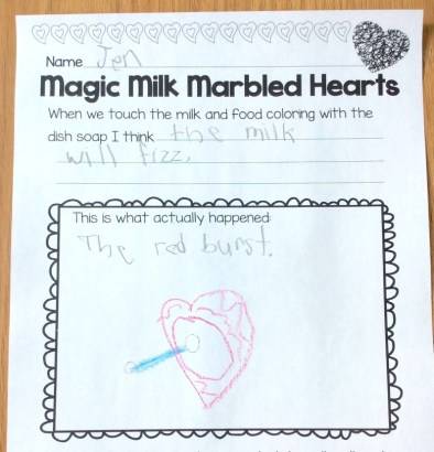 magic milk valentine science page