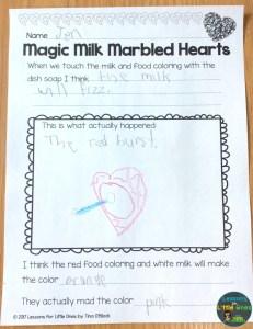 valentine science experiment magic milk page