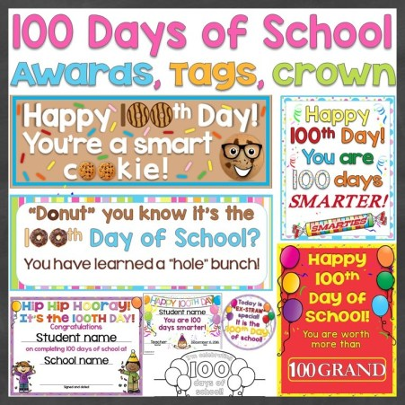 100th day of school editable awards, student gift tags, crown