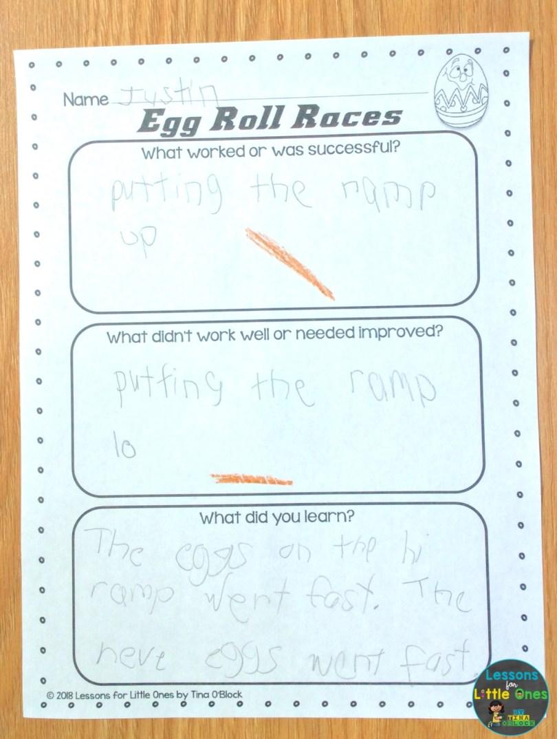 Easter egg roll STEM challenge page