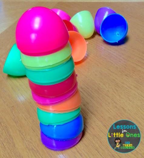Easter egg stacking STEM challenge