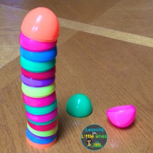Easter egg stacking STEM challenge