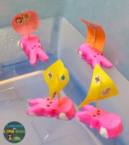 Easter Peeps bunny boats floating in water