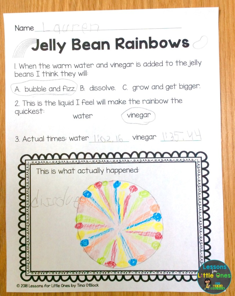 jelly bean rainbow Easter science page