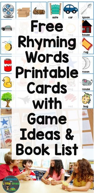 free rhyming words cards, games, & book list