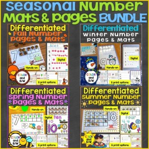 seasonal number mats counting pages bundle