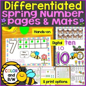 spring number mats differentiated pages