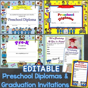 Preschool Diplomas & Graduation Invitations Editable