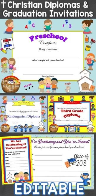 Christian Diplomas & Graduation Invitations Editable