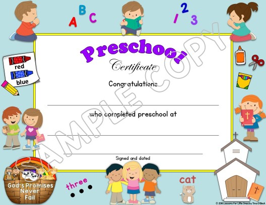 Preschool Diploma Christian editable