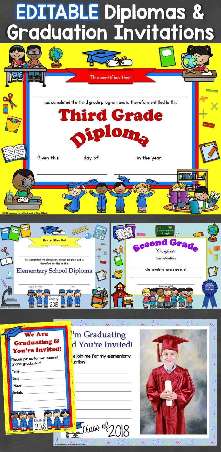 Editable Diplomas & Graduation Invitations Elementary