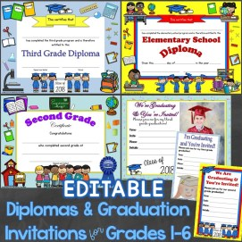 diplomas graduation invitations editable