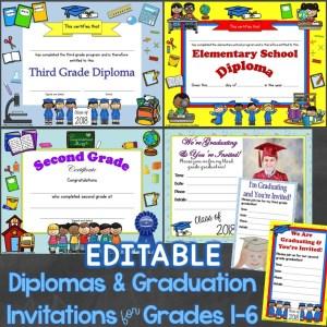 diplomas graduation invitations editable