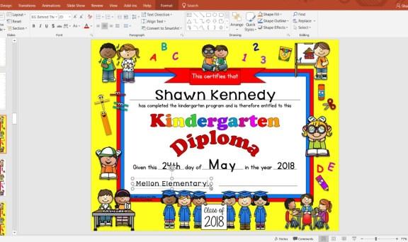 editable kindergarten diploma