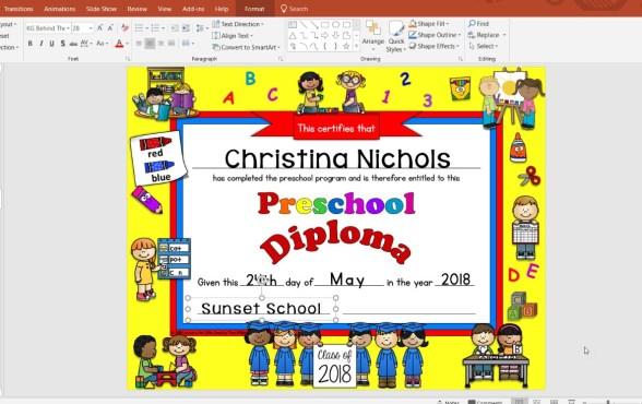 editable preschool diplomas