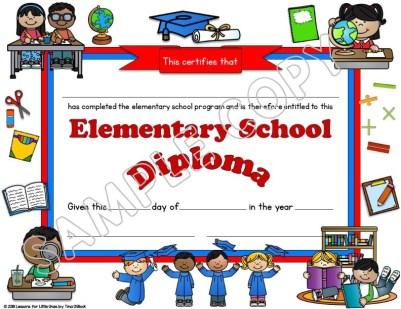 elementary diploma white background