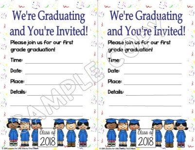 first grade graduation invitation white background