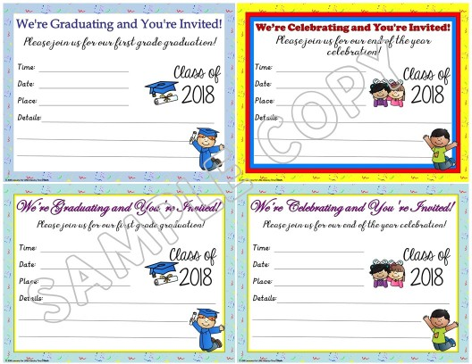 first grade graduation invitations editable