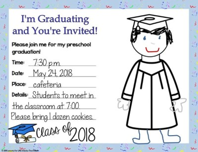 graduation invitation preschool editable