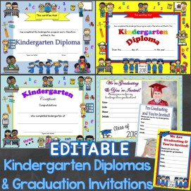 kindergarten diplomas & graduation invitations editable