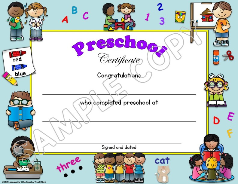 preschool certificate of completion