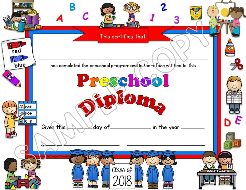 preschool diploma white background