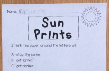 sun prints science experiment page