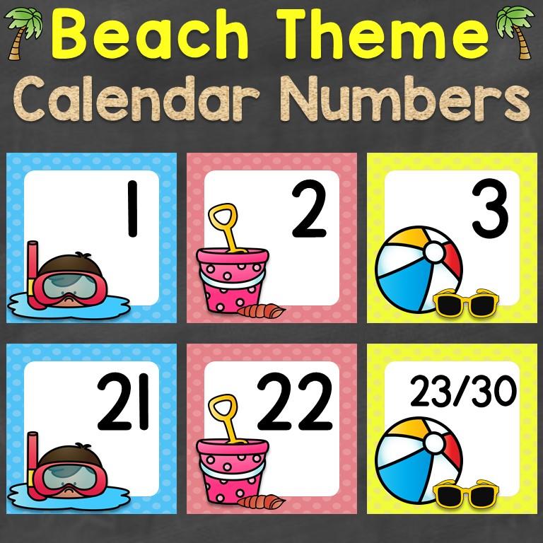 Beach Theme Calendar Numbers