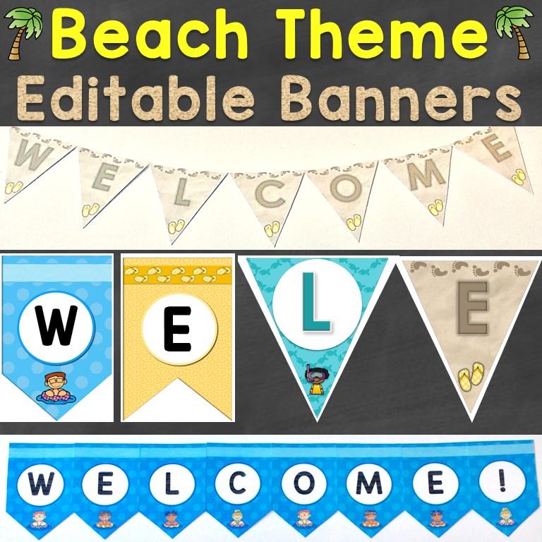 Editable Classroom Banners Beach Theme