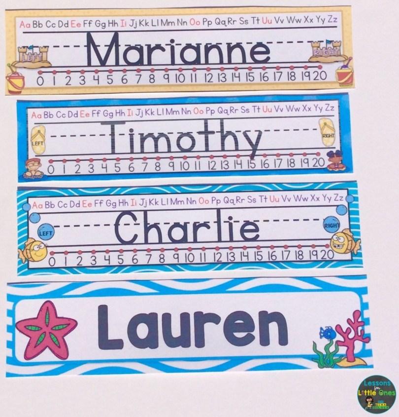 beach theme desk name plates