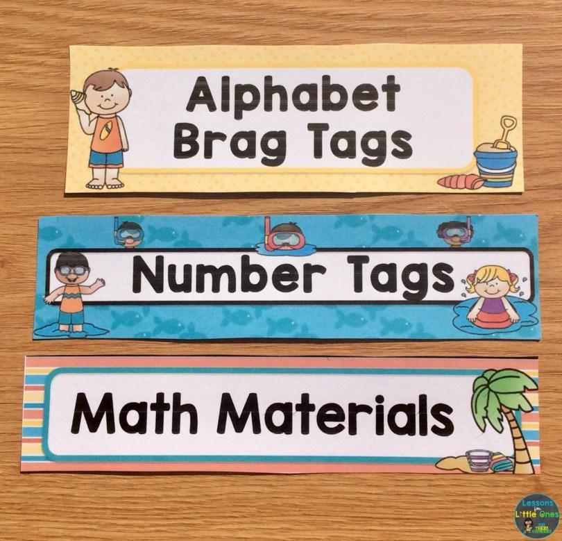 classroom labels beach theme