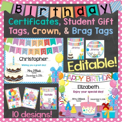 Birthday Certificates Gift Tags Crown Brag Editable